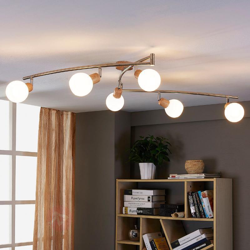 Plafonnier allongé en bois Svenka avec LED - Spots et projecteurs LED