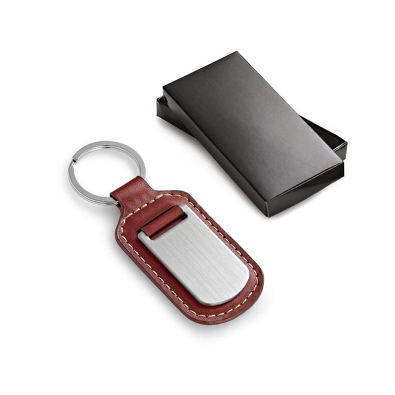 Porte-clés simili cuir brun et métal - Porte-clés métal