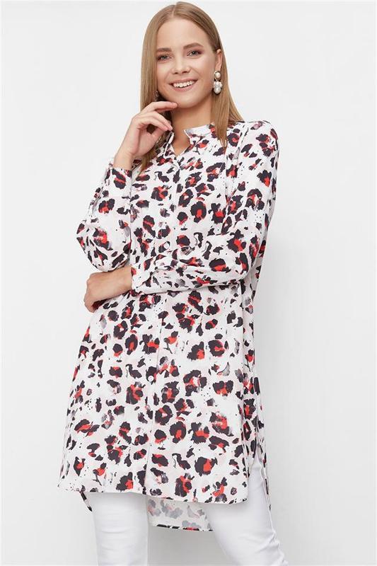 Women White Tunic Leopard Pattern - Tunic