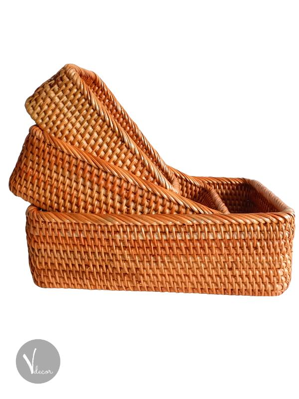 Hand Woven Rectangular Rattan Basket - Shop