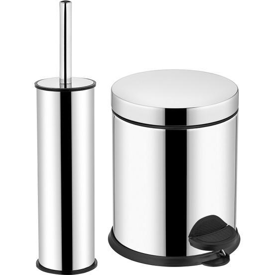 Bathroom trash bin and wc brush chrome - Bathroom trash bin and wc brush chrome