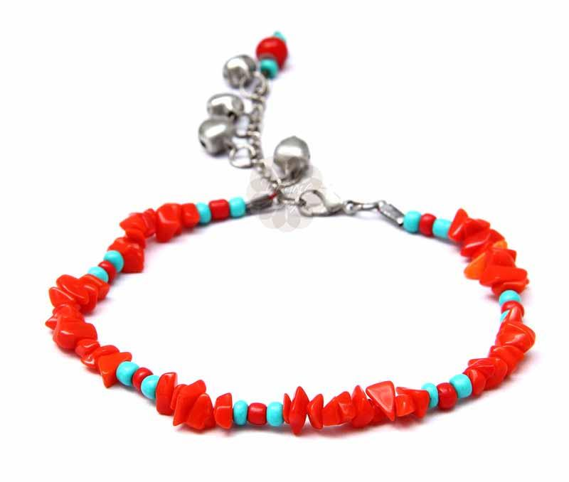 Red Beads Beach Anklet -