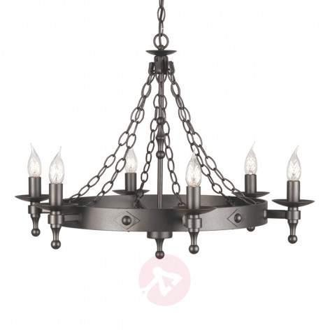 Warwick Chandelier Wrought Iron Graphite - design-hotel-lighting