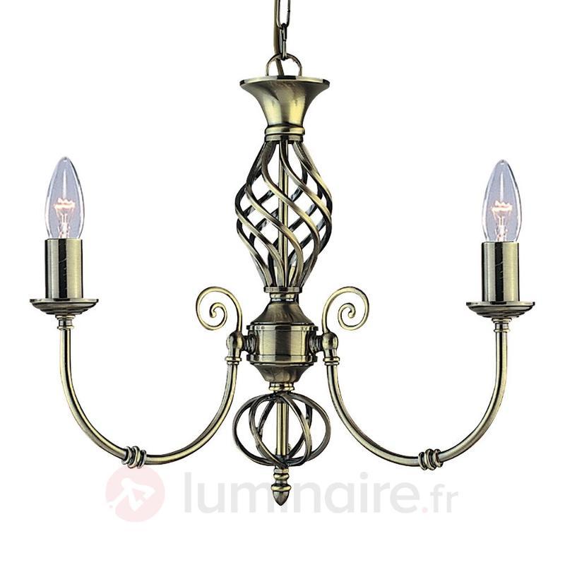 Lustre classique ZANZIBAR à 3 lampes laiton ancien - Lustres classiques,antiques