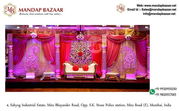 Dashing Wedding Stage Backdrop - Wedding Stage Backdrop Zardoshi Lycra Fabric