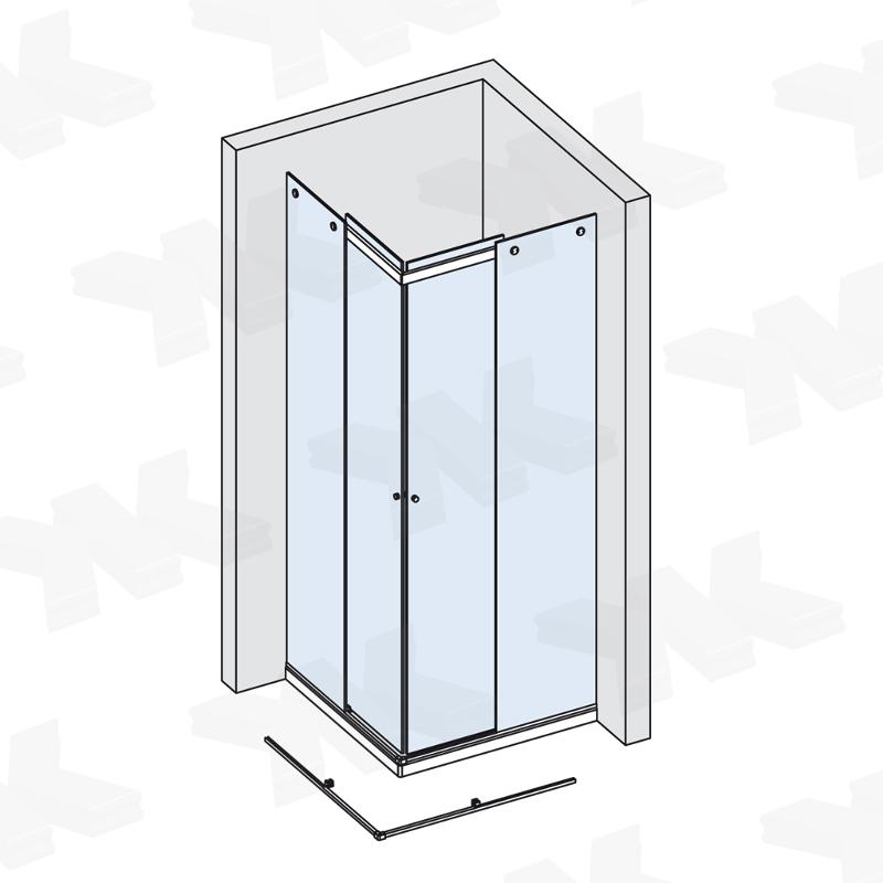 Corner shower for shower tray up to 1000 x 1000 mm - Fittings for sliding doors