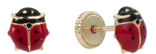 Gold ladybird stud earring -