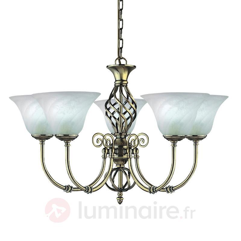 Lustre CAMEROON style colonial à 5 lampes - Lustres classiques,antiques