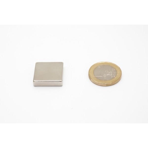 Block magnet, Neodymium, 20x20x5mm, N42, Ni-Cu-Ni,... - null