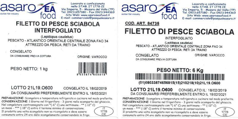 Filetti di Pesce Sciabola in Vassoio 1 kg Congelati - Ittico - Filetti