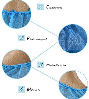 Disposable PE/CPE shoe cover - Color: blue, white, green Material: PE, CPE  Size: 15*39 16*40 17*41cm etc