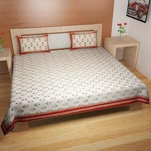 pure cotton king size bed-sheet  by traditional mafia - pure cotton export quality king size double bed bed sheet with two pillow covers
