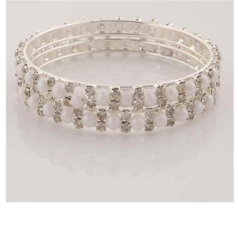 JAB-17 - Zephyrr Fashion Silver Tone Bangle with Pearls Zircons for Women