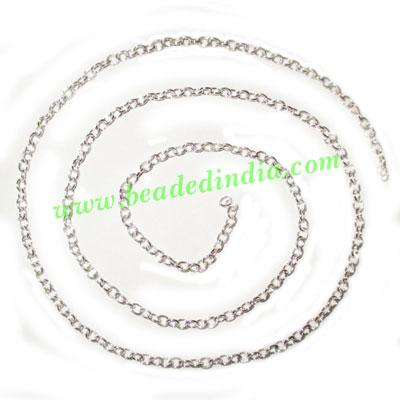 Silver Plated Metal Chain, size: 0.5x3mm, approx 93.1 meters - Silver Plated Metal Chain, size: 0.5x3mm, approx 93.1 meters in a Kg.