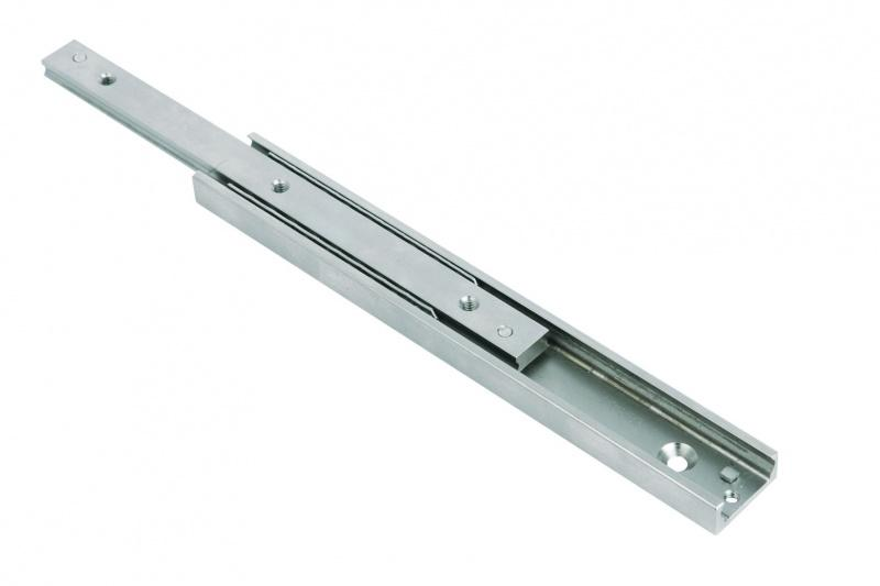 Telescope rails - Telescope rails. Partial extension of fixed guide rail and movable slider.