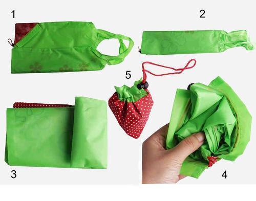 La bolsa plegable de la fresa - Lavable, de color