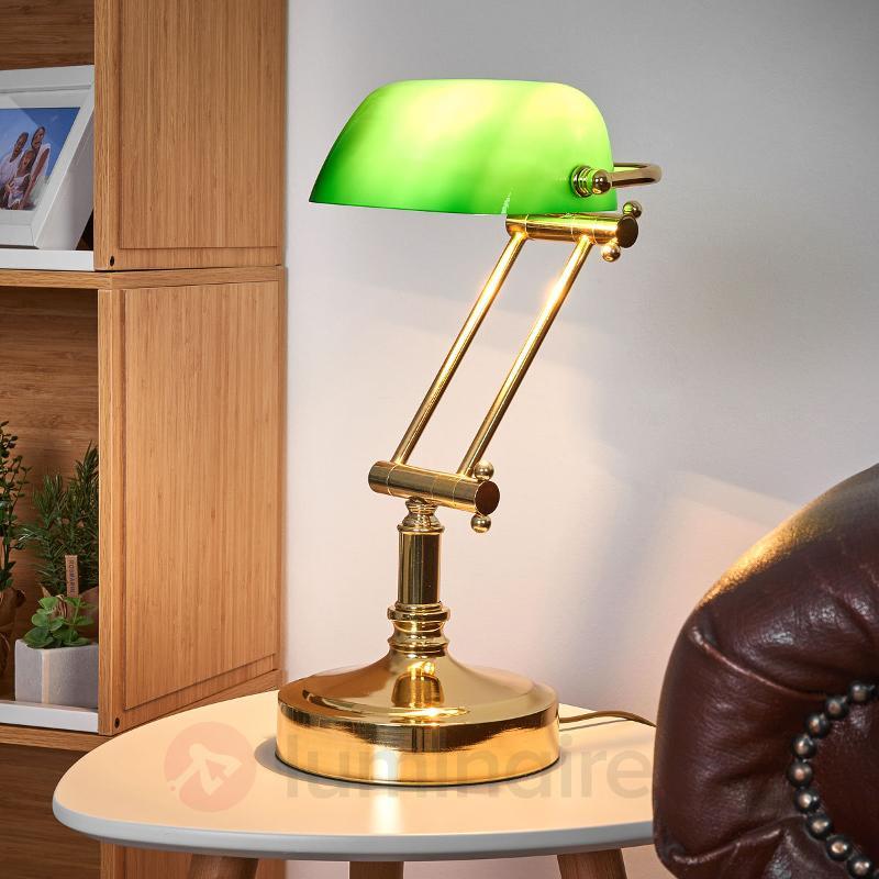 Lampe banquier Steve avec diffuseur en verre vert - Lampes de bureau