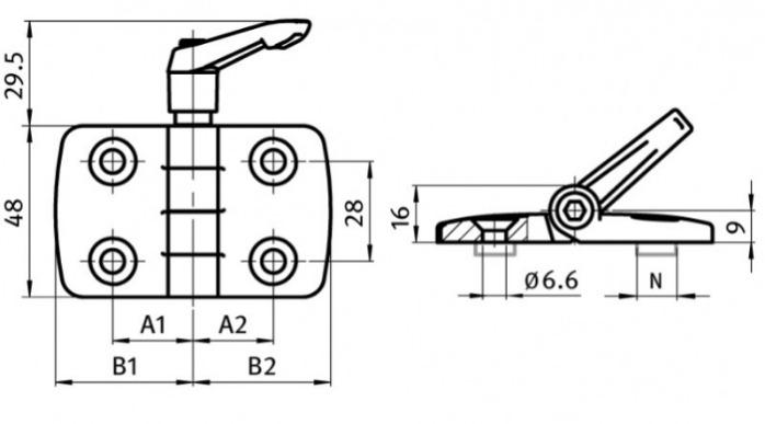 Combi Hinges, Plastic, Aluminum Die-cast, Stainless Steel - Hinges with combinable hinge wings, with / without groove guide