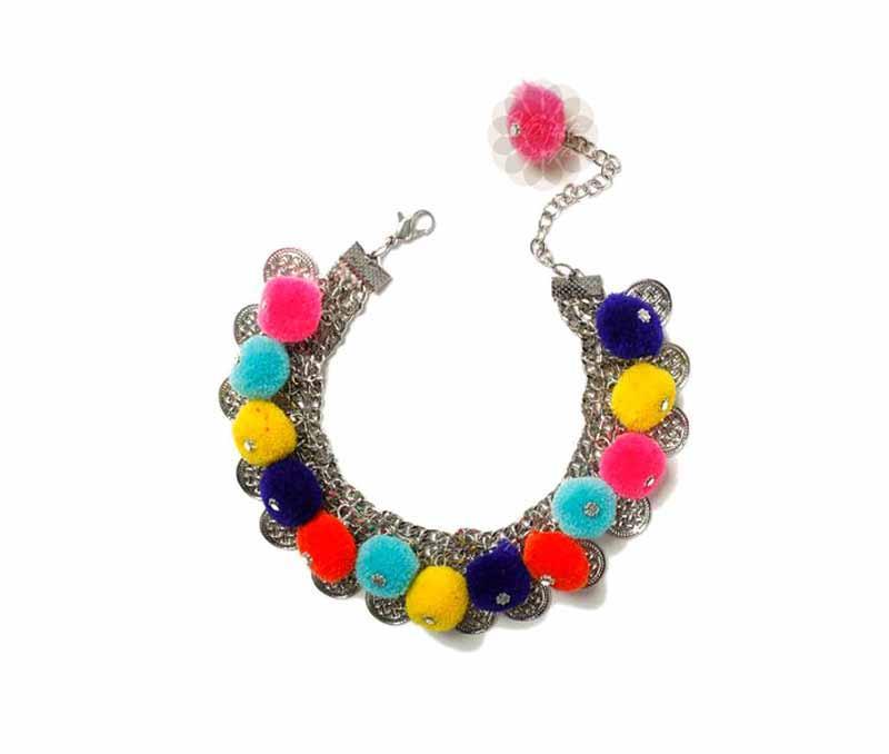 Multicolor Pom Pom Anklet -