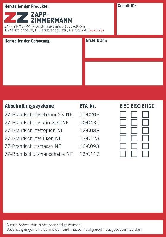 Abschottungssysteme Systemkomponenten - Kennzeichnungsschild ETA Zulassung