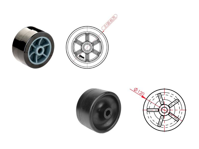 Slip rollers - Our slip rolls made of rubber or thermoplastic PU for the boat trailer industry