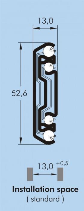 ITS 036 Full extension drawer slide 70 kg - 52,6 x 13 mm telescopic slide hot-dip galvanized steel length 300 - 750 mm
