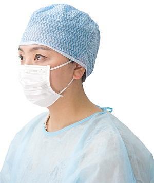 Tapón quirúrgico Spunlace - Estilo: Atar-on / material elástico: malla de Spunlace Color: azul / verde Peso: