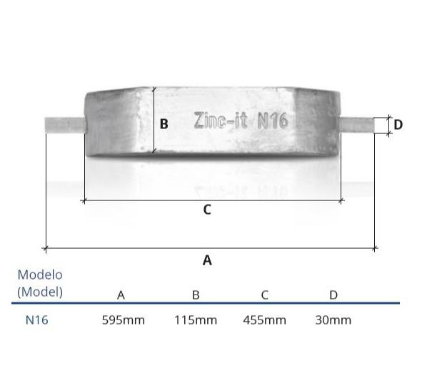 Ânodo de zinco para protecção catódica - Ânodos de casco N16