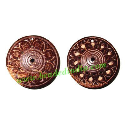 Handmade coconut shell wood pendants, size : 46x15mm - Handmade coconut shell wood pendants, size : 46x15mm