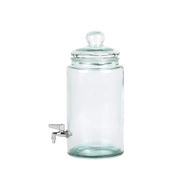 Cylindrical bottle 6 liters  - with tap and glass lid