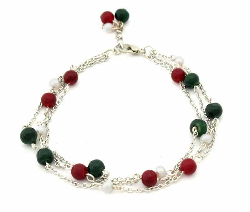 Green and Red Bead Anklet -