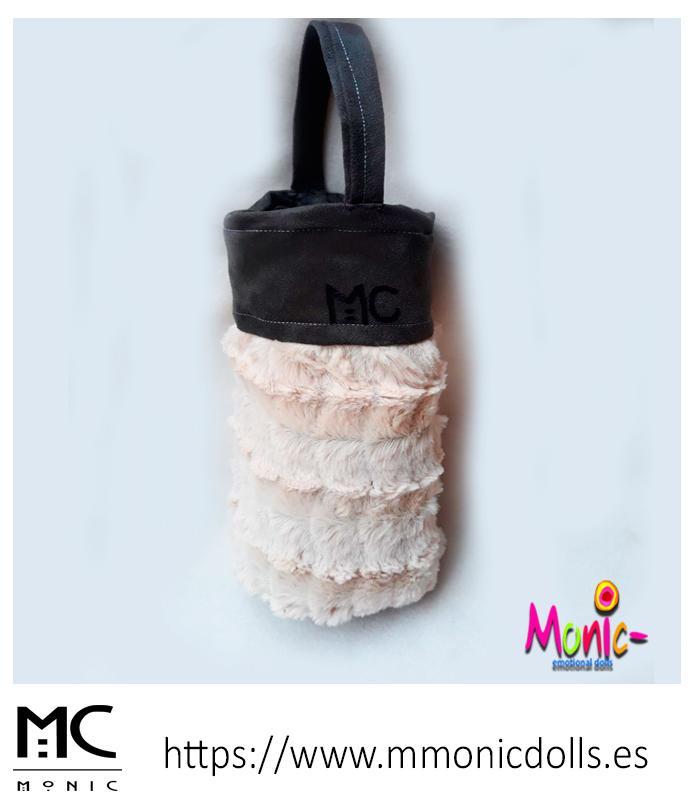 Mini bolso, pelo y antelina - Mini bolso de mano confeccionado en tela de pelo y antelina con monedero
