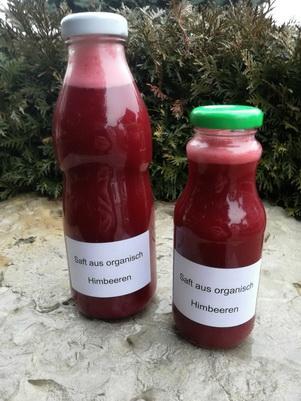 Juice of organic raspberry sort willamet without sugar