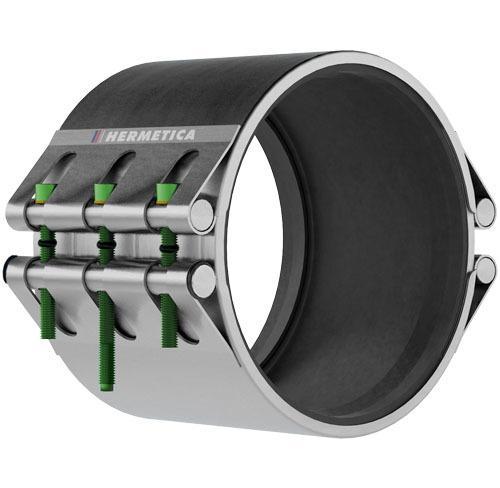 Abrazadera HERMETICA Serie 20 - Total inox 304L | EPDM WRAS ACS | 2 Cierres ancho 200 mm