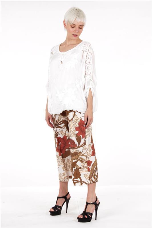 pantalone  culotte e blusa in pizzo - natural style