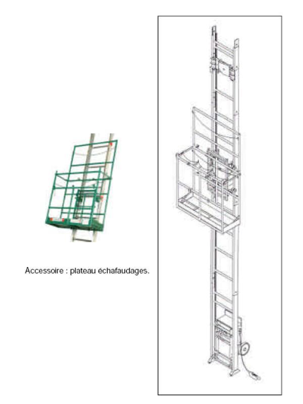Monte-matériaux  - Monte-matériaux pour plateau d'échafaudage