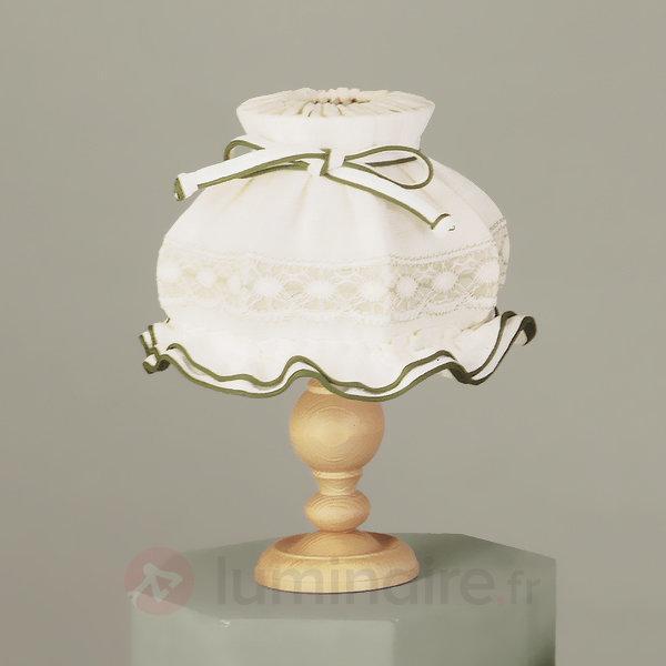 Lampe à poser ELSA en tissu abat-jour brodé - Lampes à poser en tissu