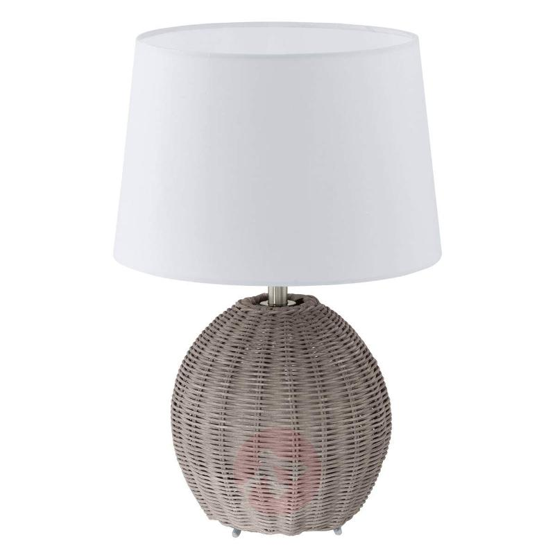 Roia - Textile Table Lamp with Braided Base - Table Lamps