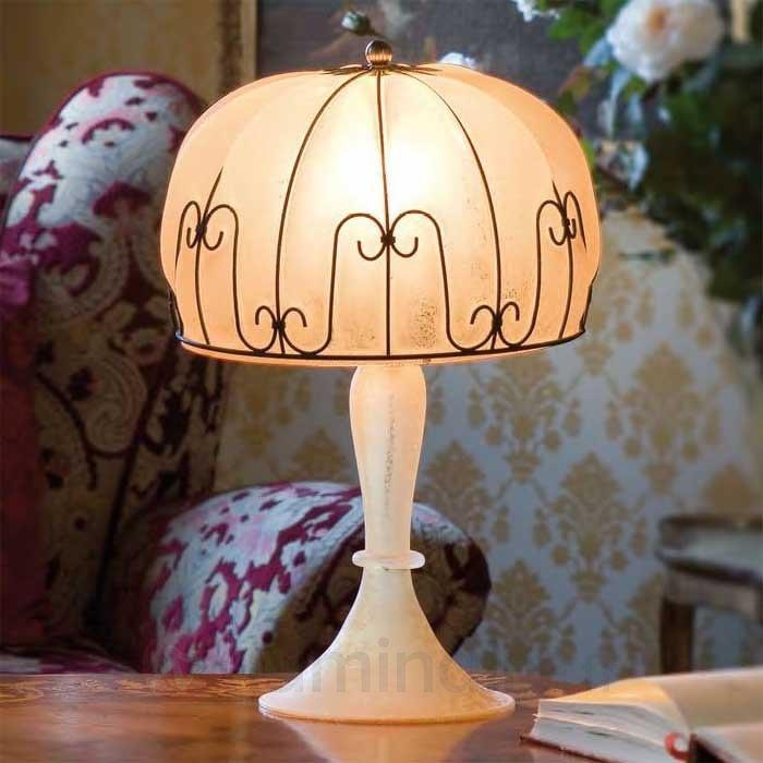 Lampe à poser MEDUSA fabriquée à la main ambre - Lampes à poser classiques, antiques