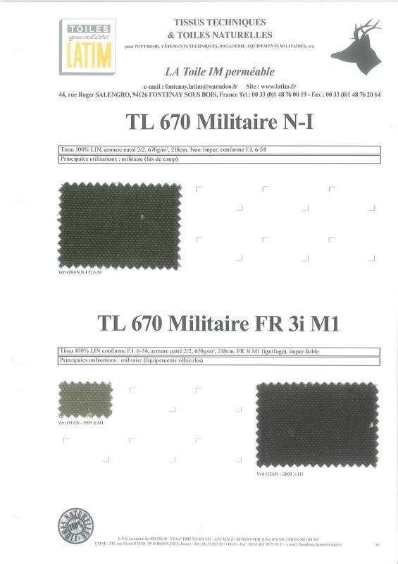 TL 670 Militaire N-I & TL 670 Militaire FR 3i M1 - Toiles naturelles