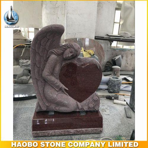 Angel Holding Red Heart Shaped Memorial With India Granite