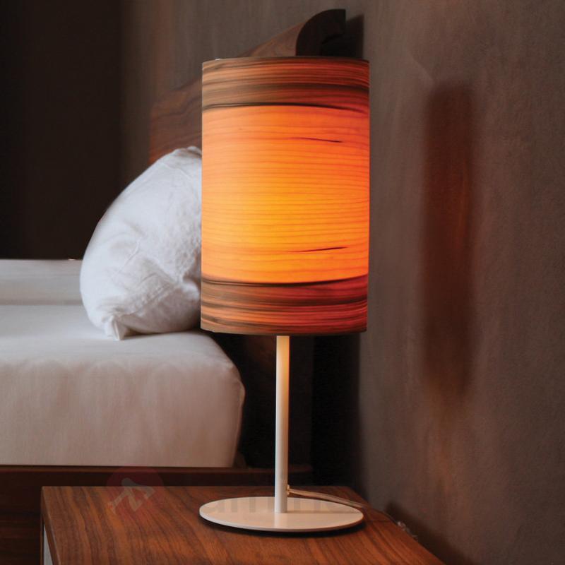 Lampe à poser Funk en placage bois, noyer - Lampes à poser en bois