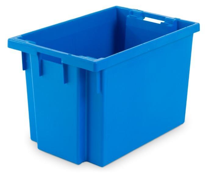 Cajas de plástico apilables y encajables - con abertura en las asas, 70L (cerrada y/o rejada)