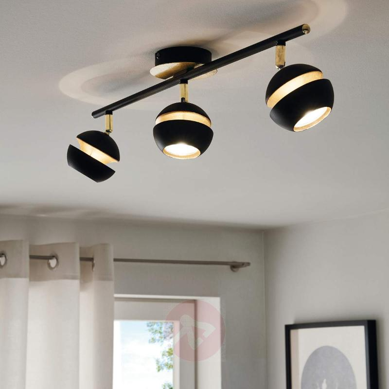 Black and gold 3-bulb Nocito LED ceiling lamp - Ceiling Lights
