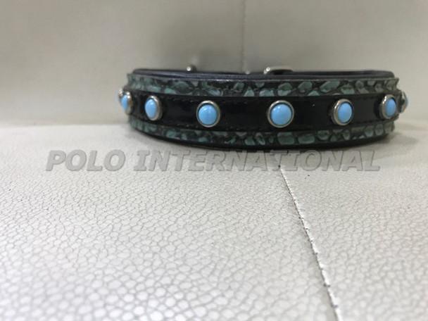 Leather dog collar - Stone stud dog collar