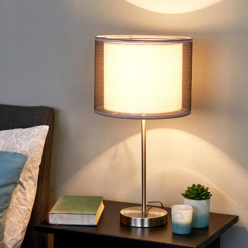 Lampe à poser grise Nica double abat-jour en tissu - Lampes à poser en tissu