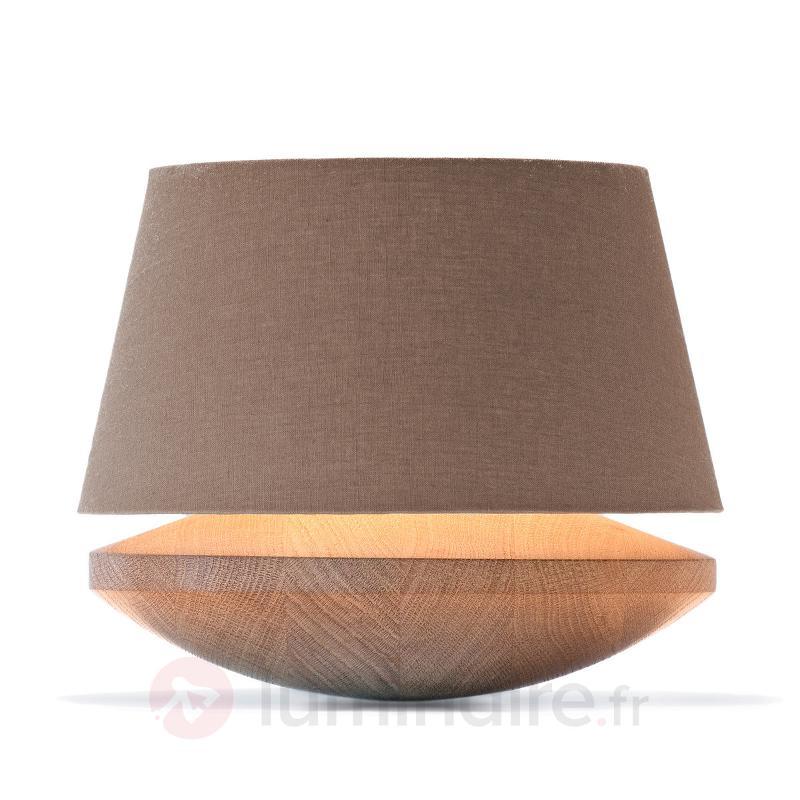 Lampe à poser Kjell - bois de chêne et lin, iron - Lampes à poser en bois