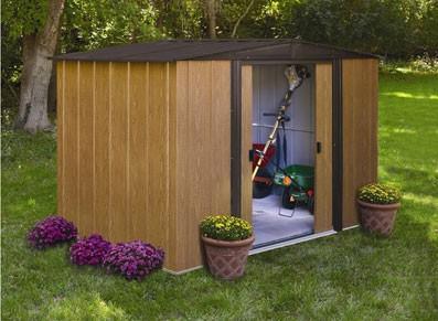 Abri de jardin en métal - Imitation bois