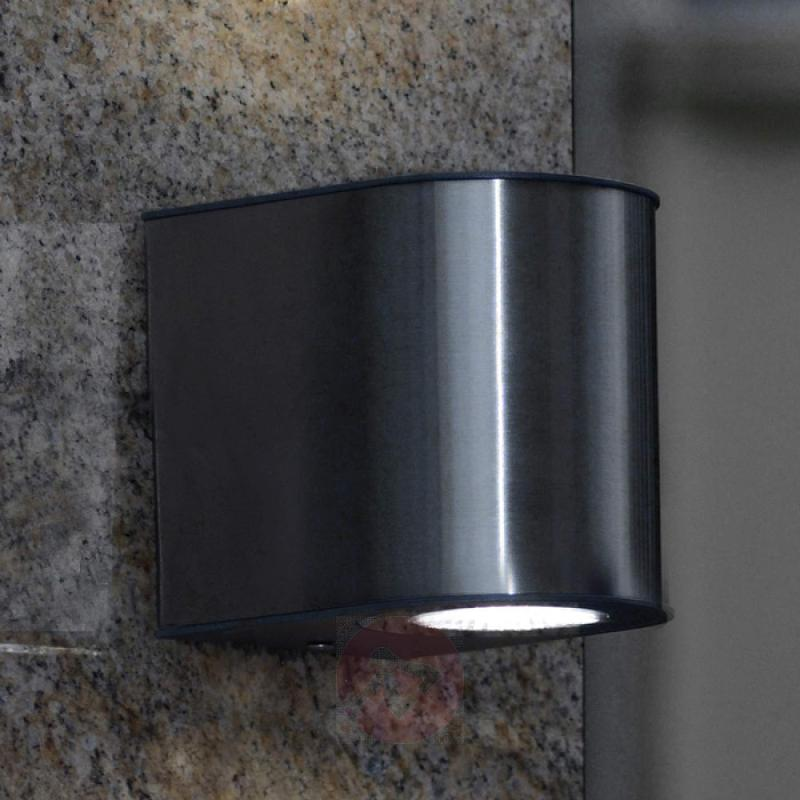 Stylish Gemini IP54 LED exterior wall light - stainless-steel-outdoor-wall-lights