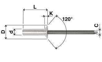 Rivetti a strappo ermetici testa svasata - Alluminio /... - Rivetti a strappo